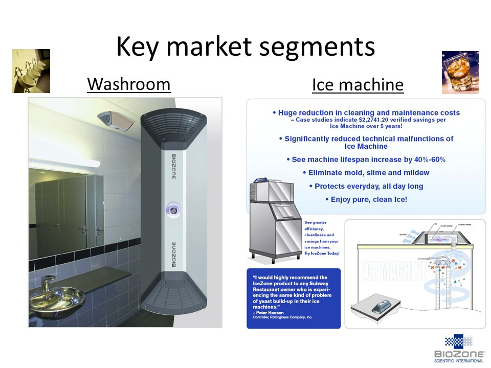 Key market segments Washroom Ice machine