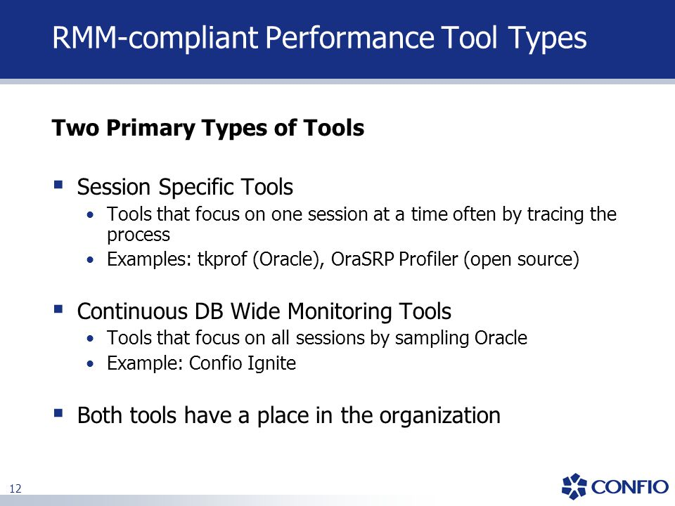 RMM-compliant Performance Tool Types