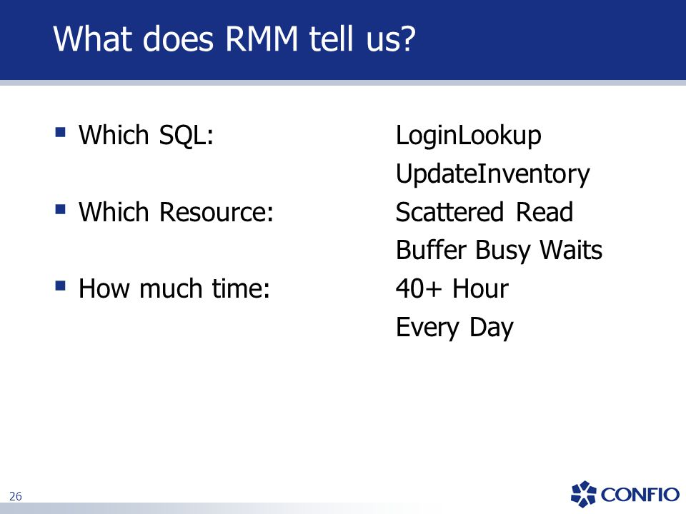 What does RMM tell us Which SQL: LoginLookup UpdateInventory