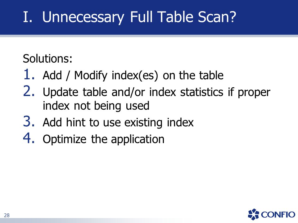 I. Unnecessary Full Table Scan