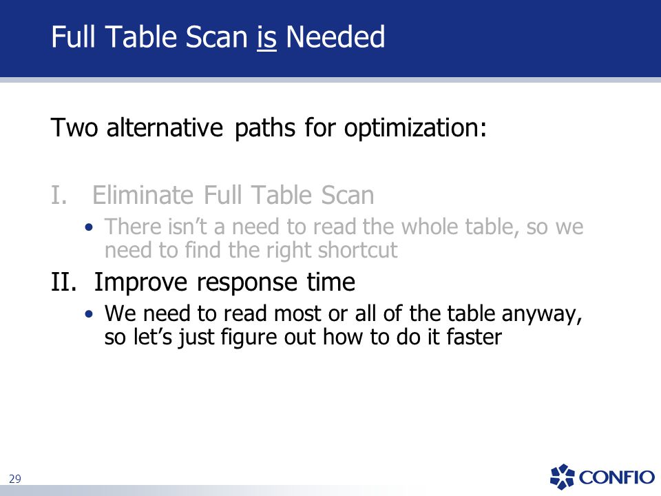 Full Table Scan is Needed