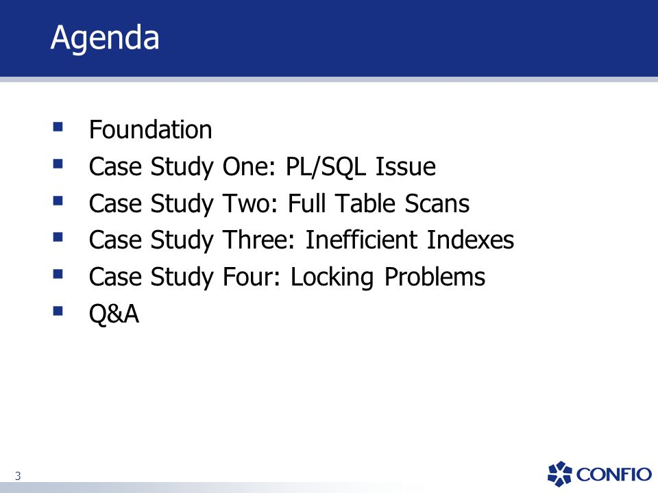 Agenda Foundation Case Study One: PL/SQL Issue
