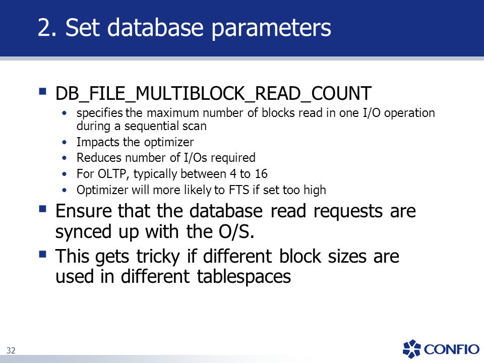2. Set database parameters