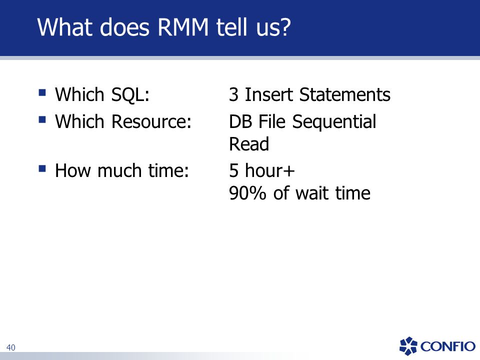 What does RMM tell us Which SQL: 3 Insert Statements