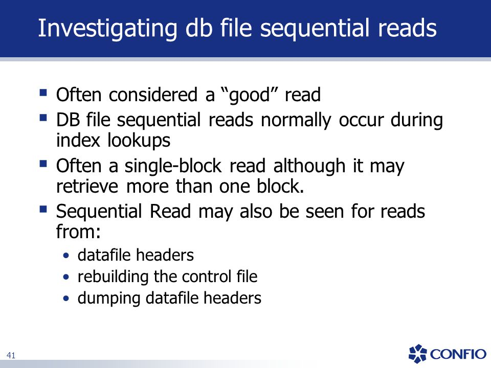 Investigating db file sequential reads