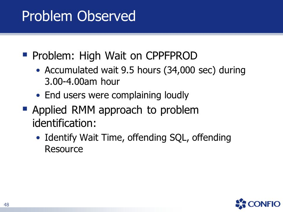 Problem Observed Problem: High Wait on CPPFPROD