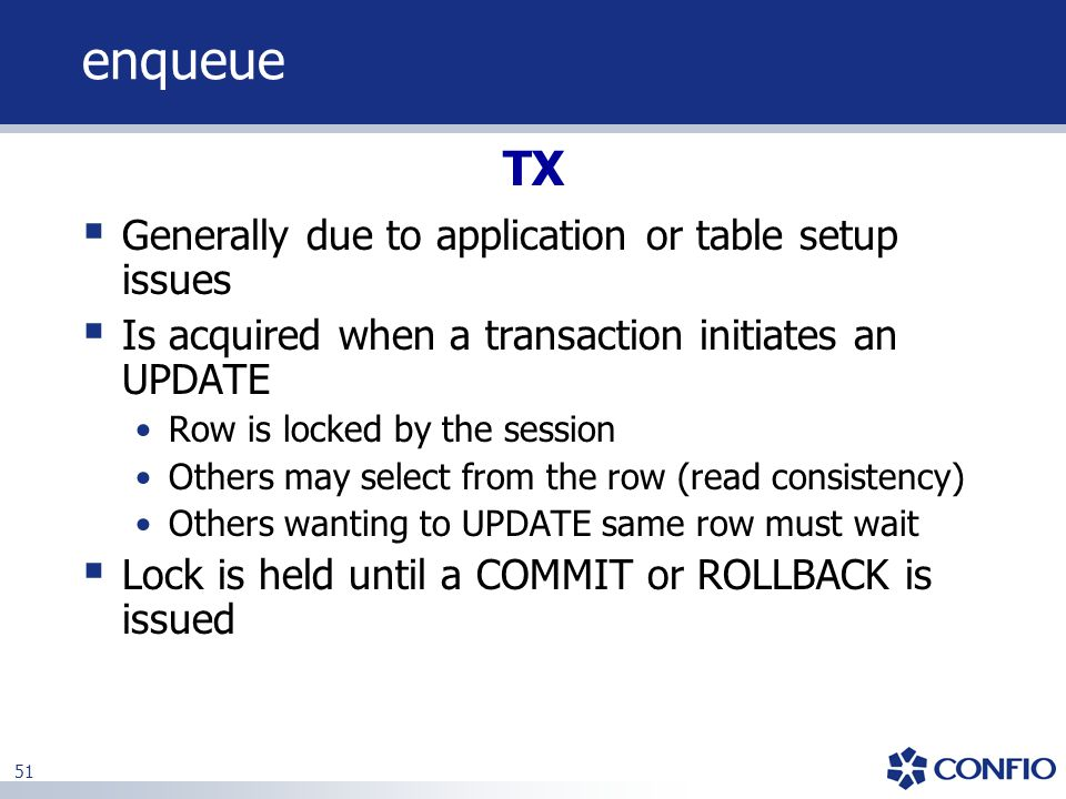 enqueue TX Generally due to application or table setup issues