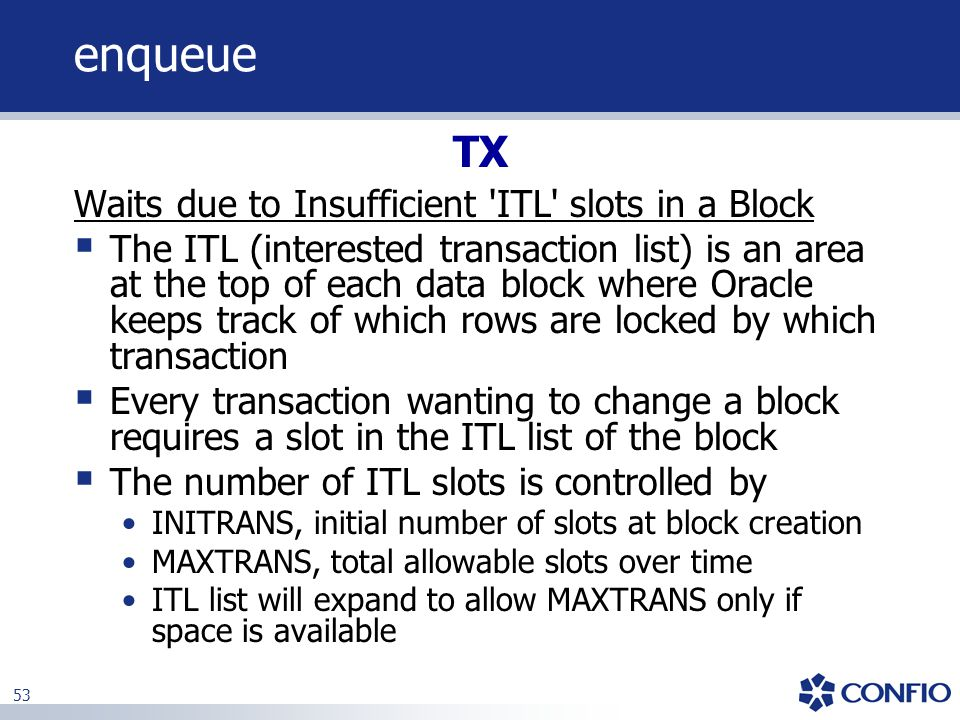 enqueue TX Waits due to Insufficient ITL slots in a Block