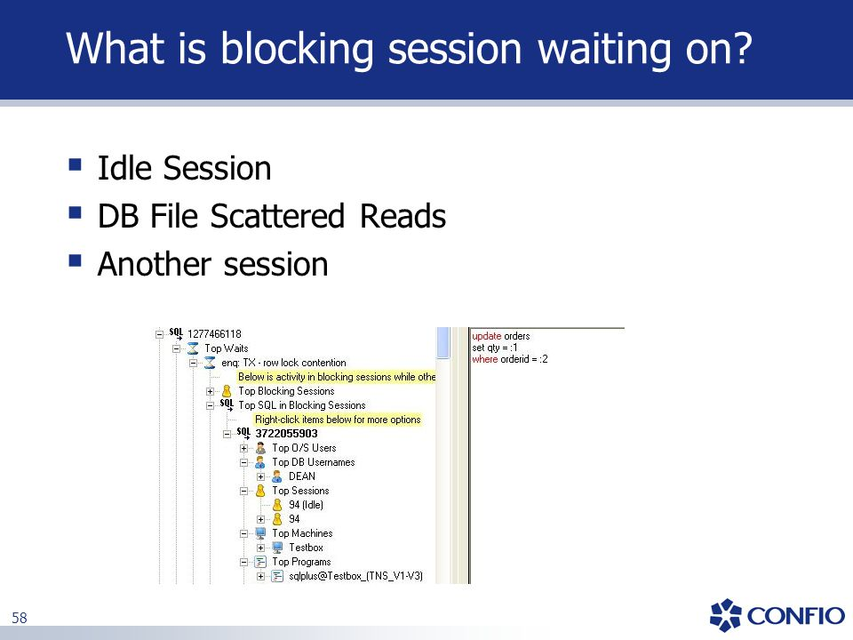 What is blocking session waiting on