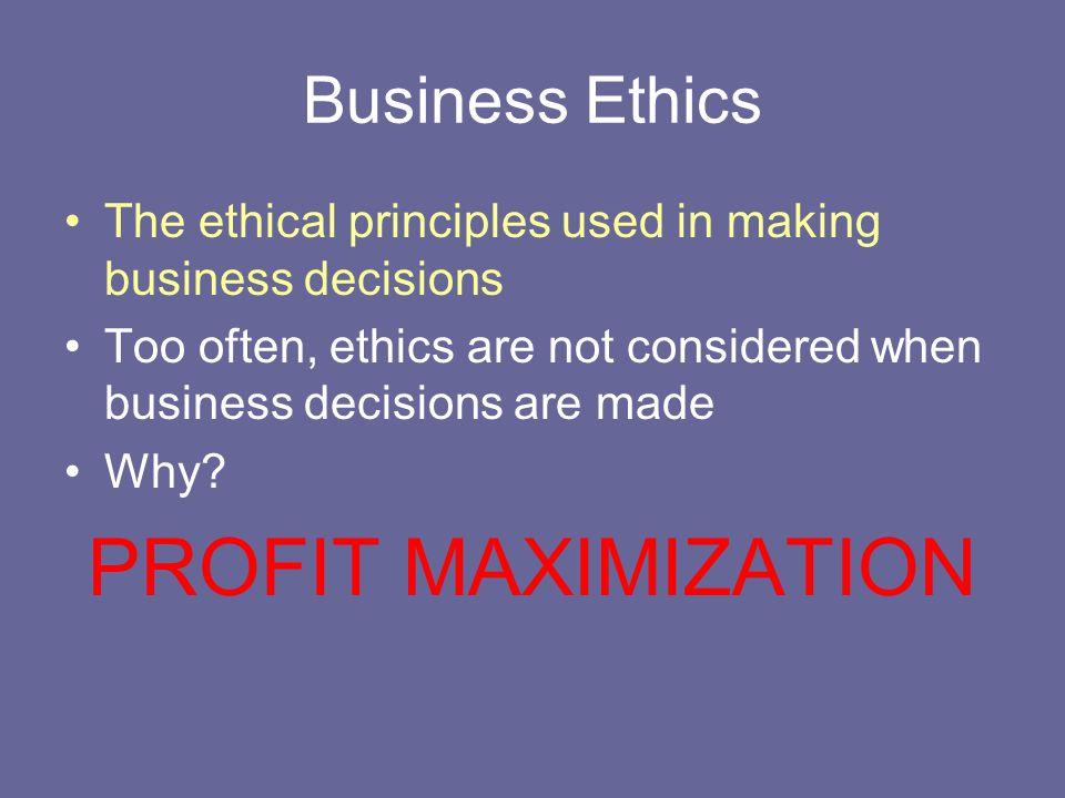 PROFIT MAXIMIZATION Business Ethics