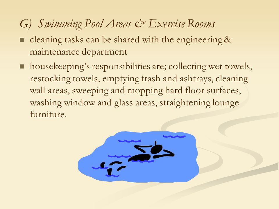 G) Swimming Pool Areas & Exercise Rooms