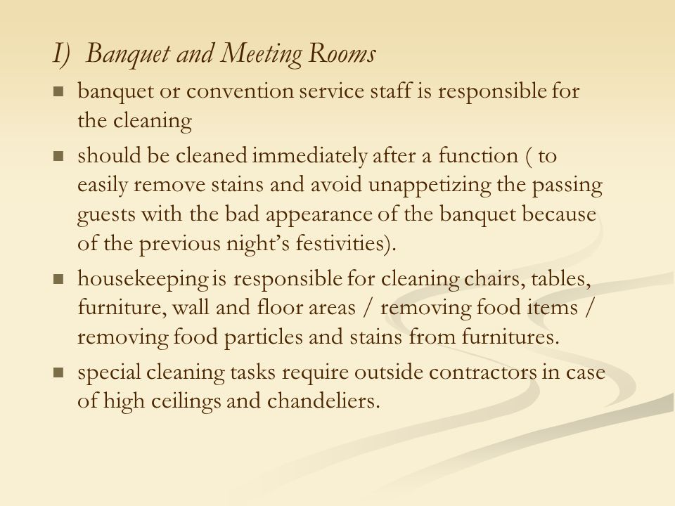 I) Banquet and Meeting Rooms