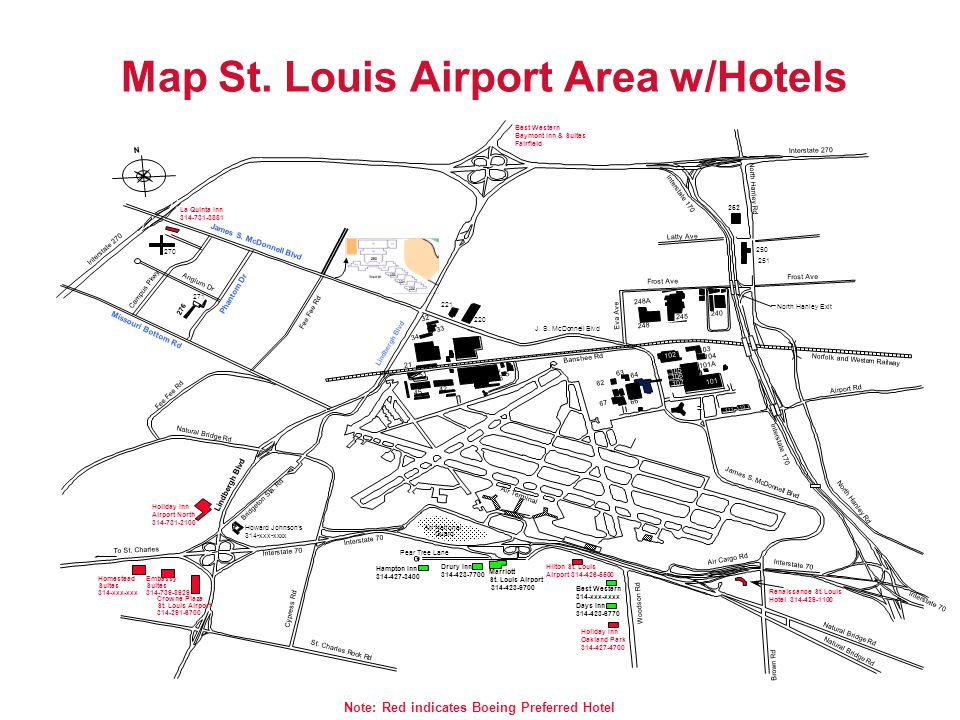 Map St. Louis Airport Area w/Hotels