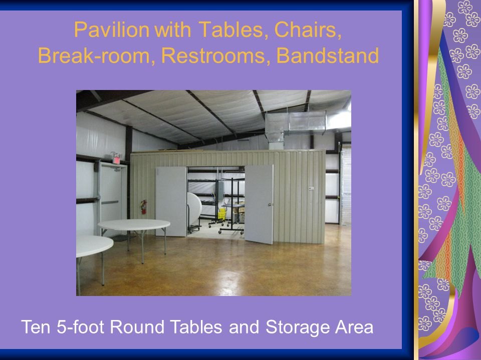 Pavilion with Tables, Chairs, Break-room, Restrooms, Bandstand
