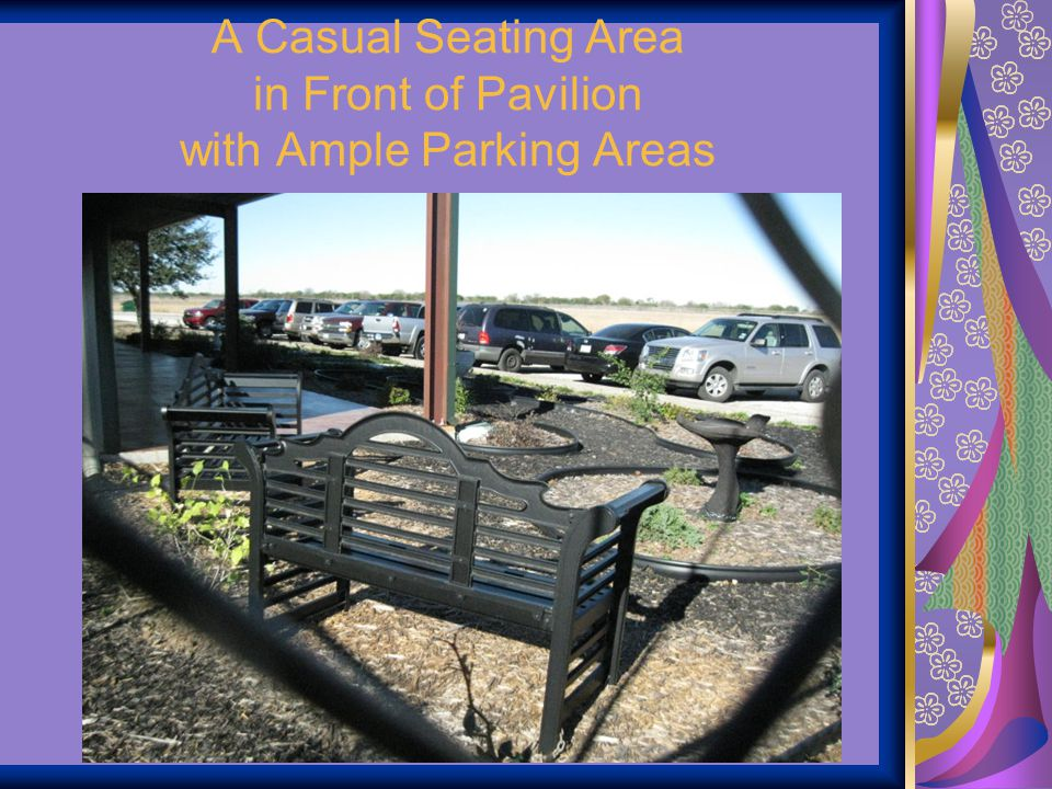 A Casual Seating Area in Front of Pavilion with Ample Parking Areas