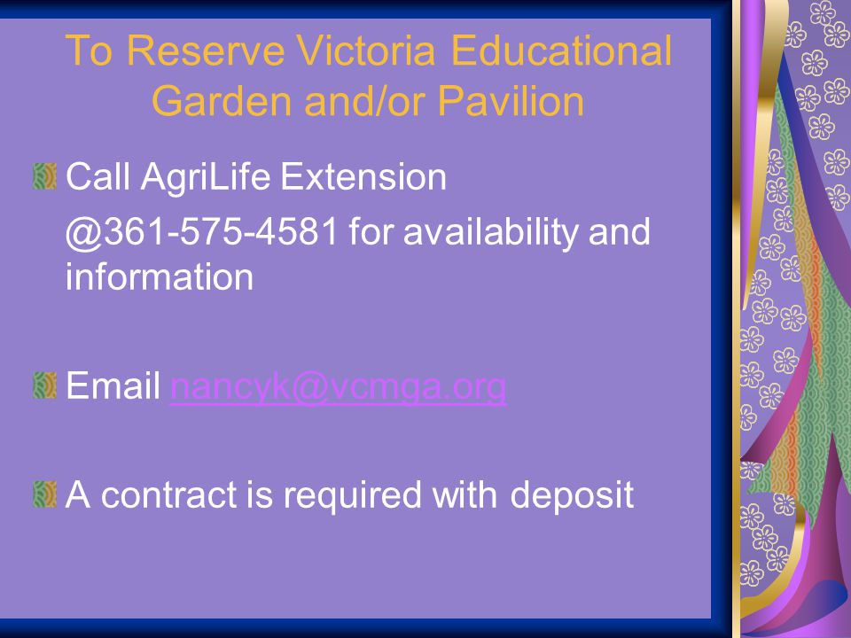 To Reserve Victoria Educational Garden and/or Pavilion