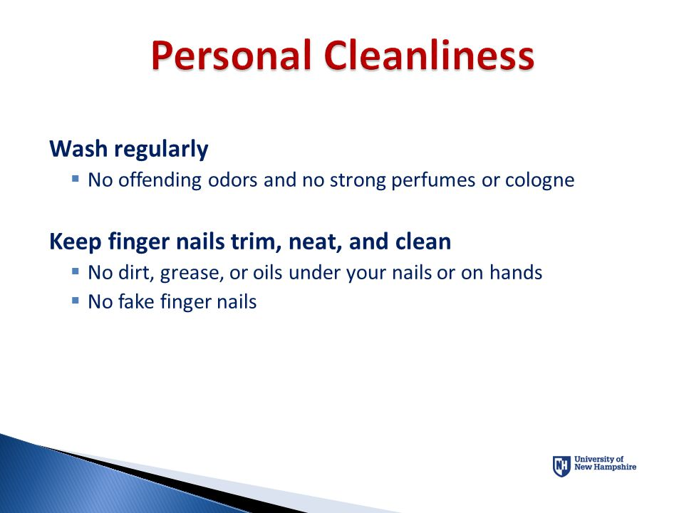 Personal Cleanliness Wash regularly