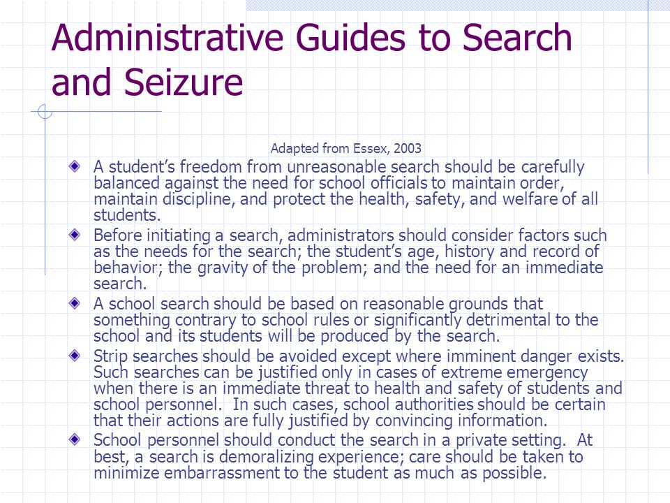 Administrative Guides to Search and Seizure
