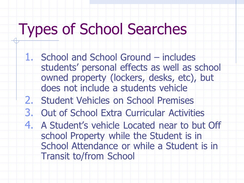 Types of School Searches