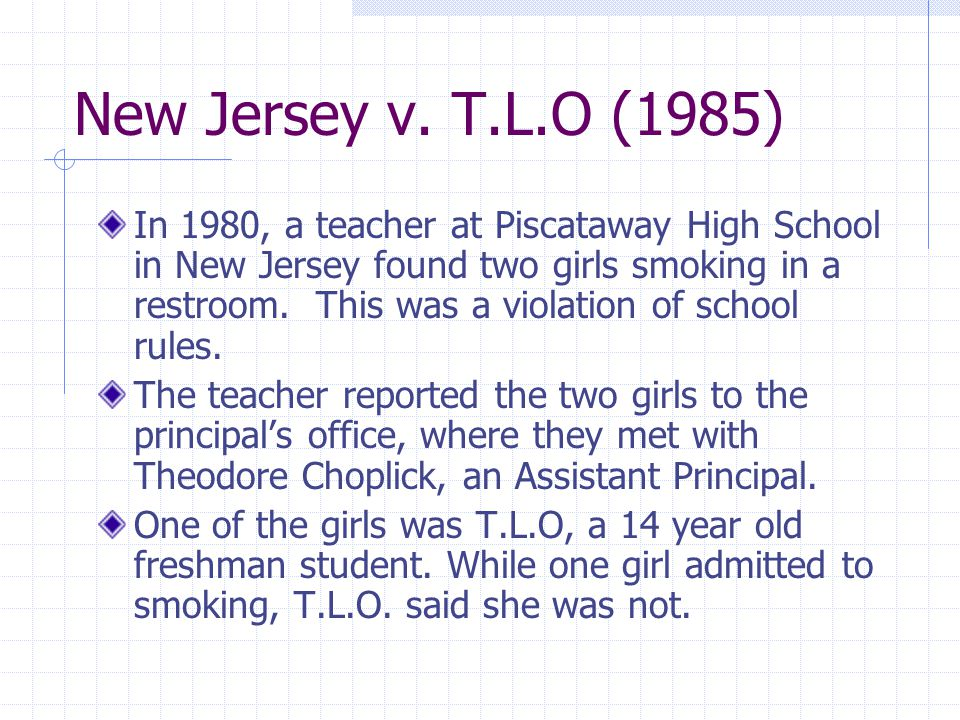new jersey v t l o Citations with the tag: new jersey v tlo (supreme court case) results 1 - 16 an unmitigated disaster zirkel, perry a // phi delta kappan jan2002, vol 83 issue 5, p417.
