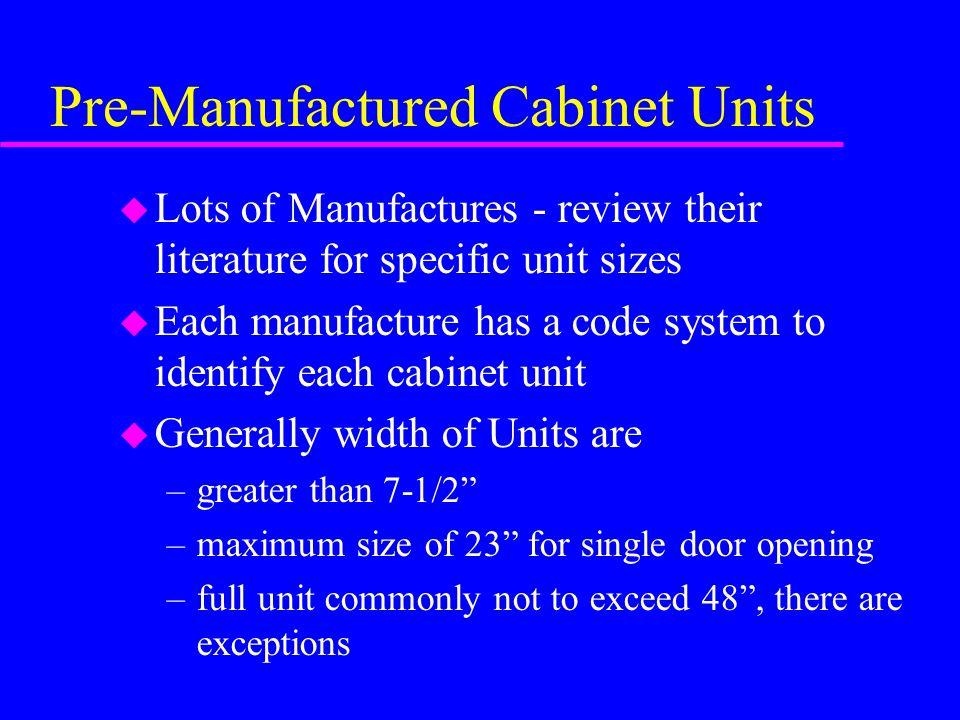 Pre-Manufactured Cabinet Units