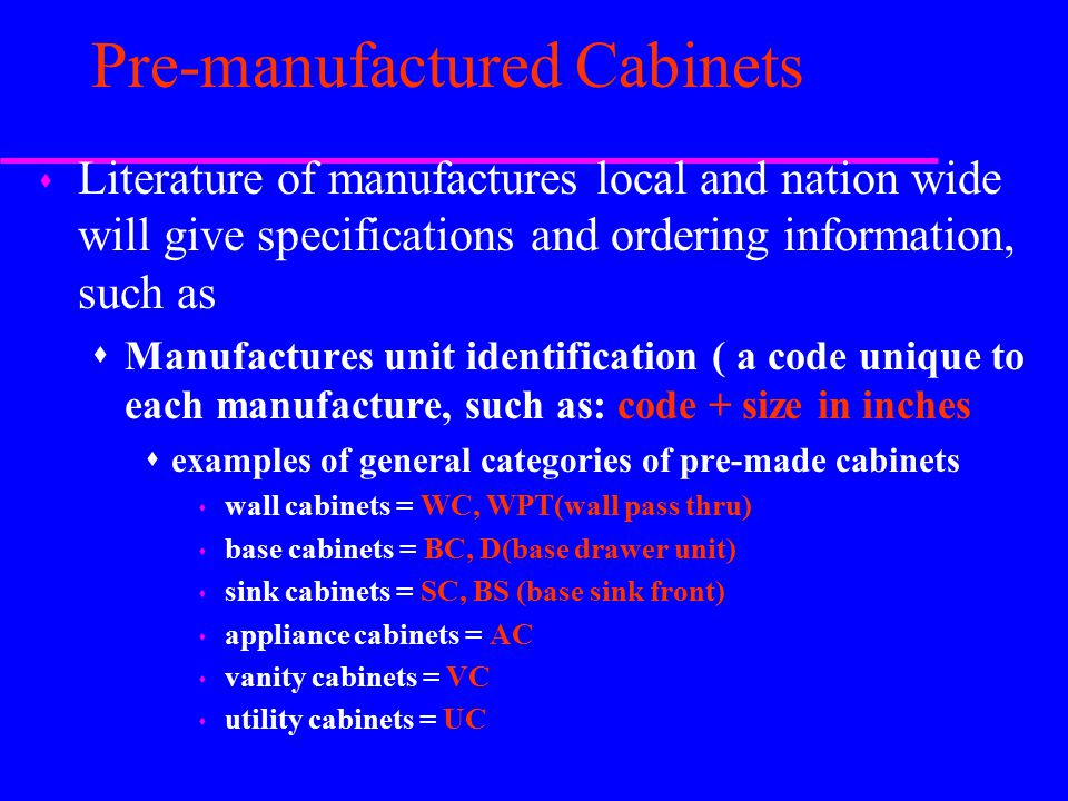 Interior elevations ppt video online download for Pre manufactured cabinets