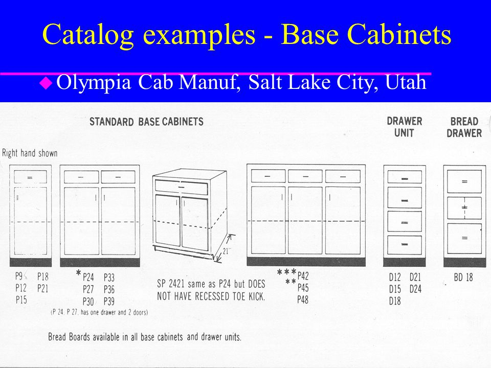 Catalog examples - Base Cabinets