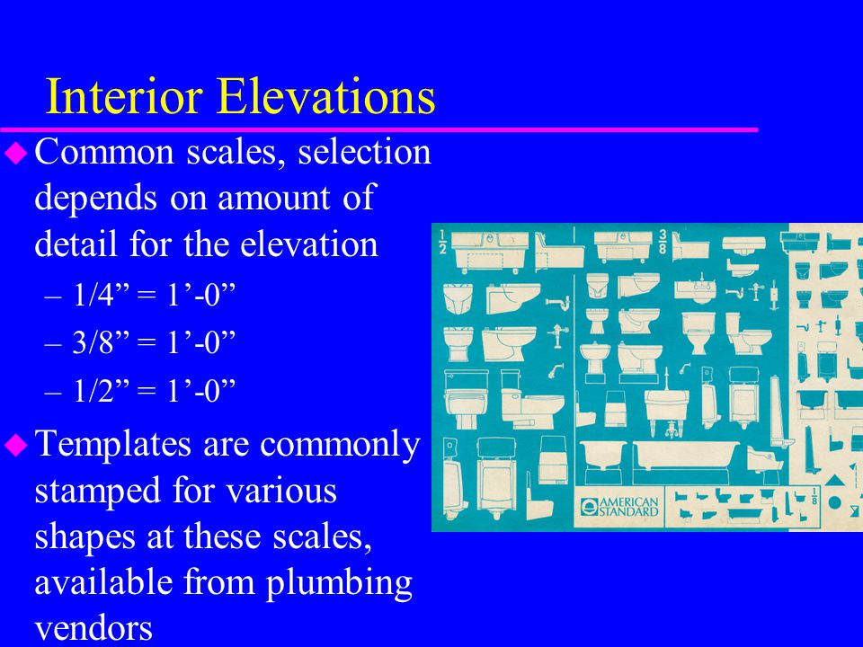 Interior Elevations Common scales, selection depends on amount of detail for the elevation. 1/4 = 1'-0