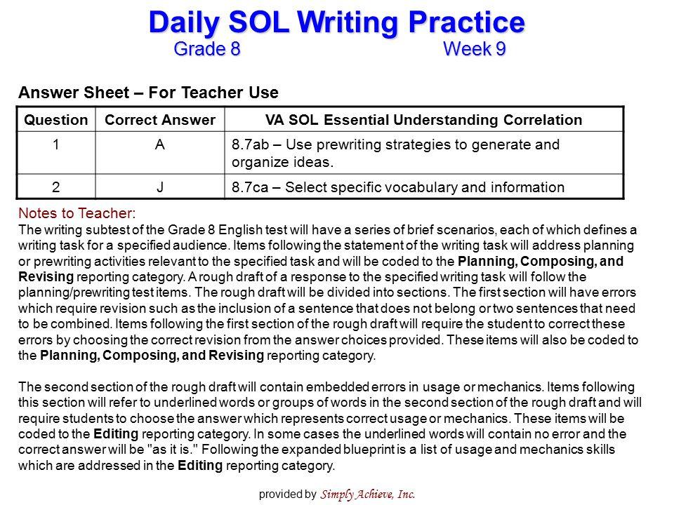 VA SOL Essential Understanding Correlation