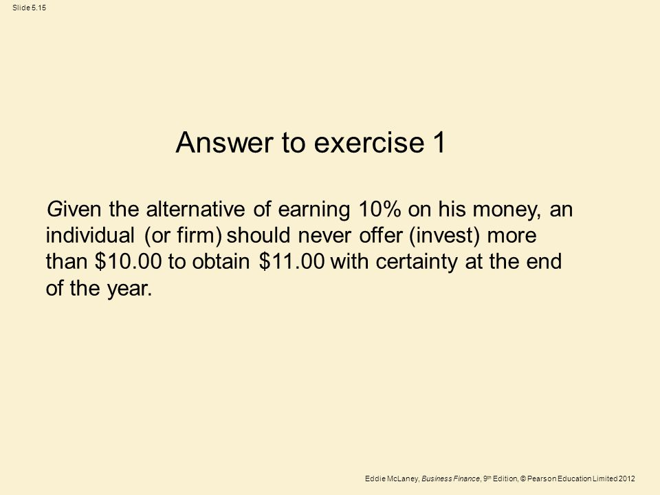 Answer to exercise 1