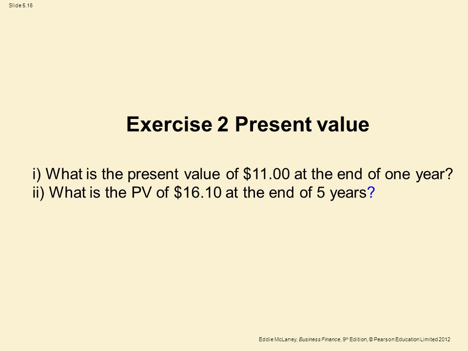 Exercise 2 Present value