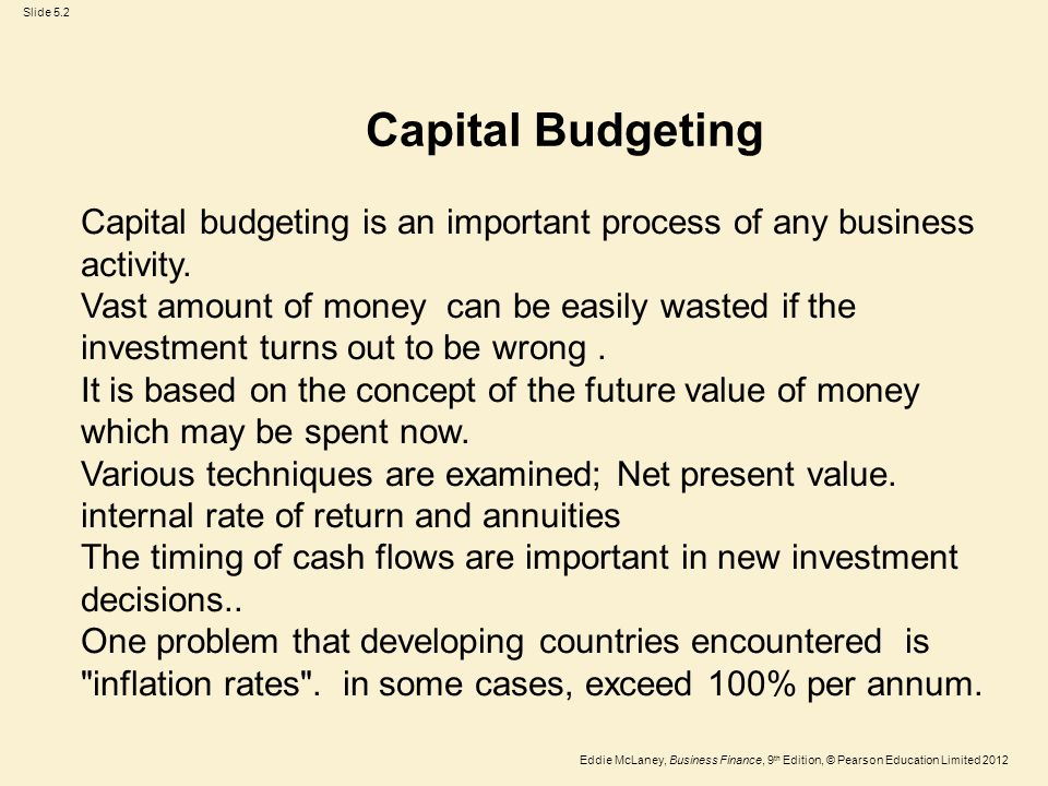 Capital Budgeting Capital budgeting is an important process of any business activity.