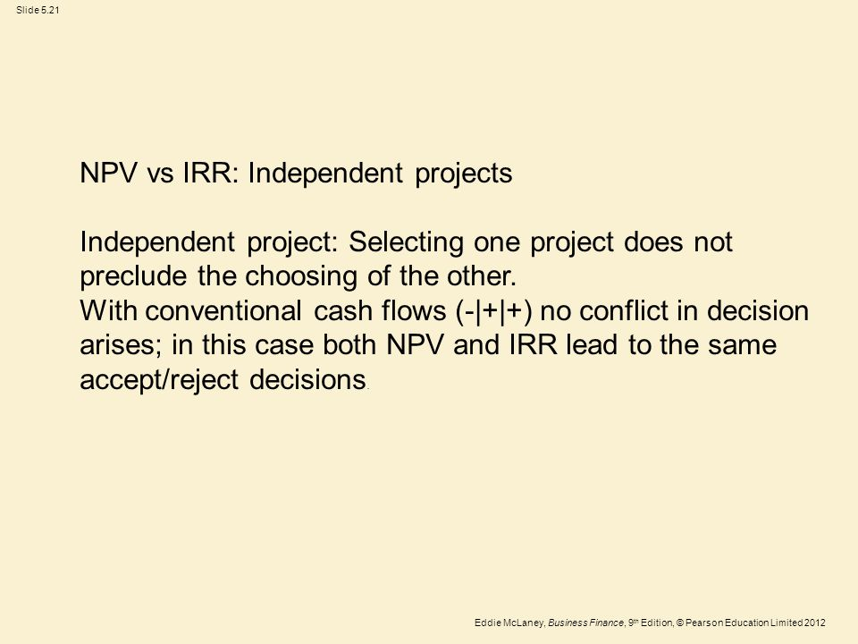 NPV vs IRR: Independent projects