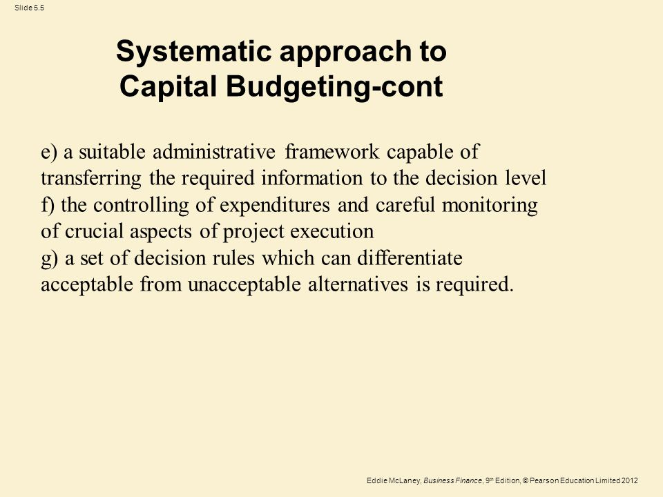 Systematic approach to Capital Budgeting-cont
