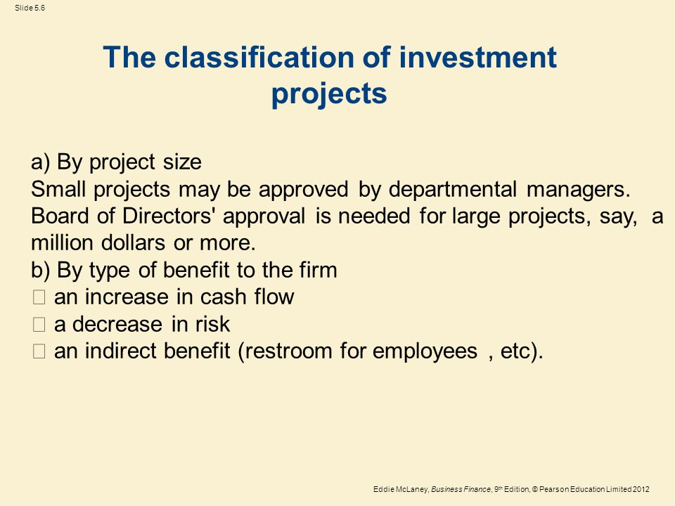The classification of investment projects