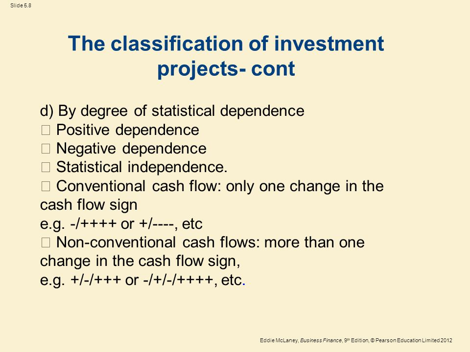 The classification of investment projects- cont