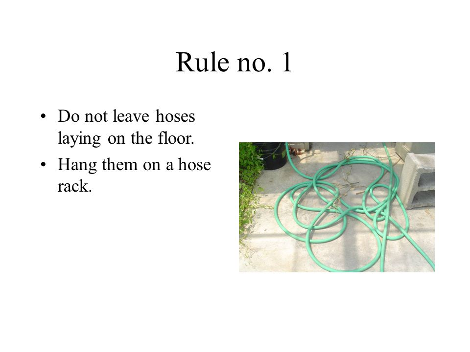 Rule no. 1 Do not leave hoses laying on the floor.