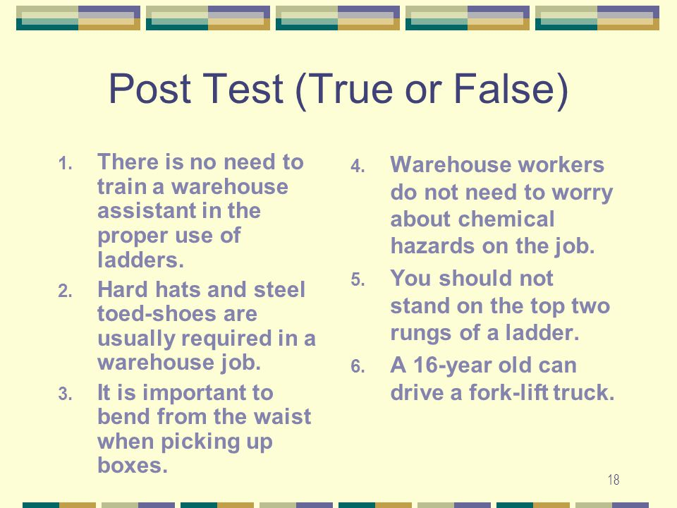 Post Test (True or False)