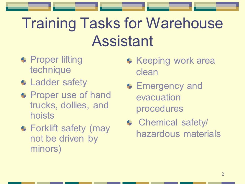 Training Tasks for Warehouse Assistant