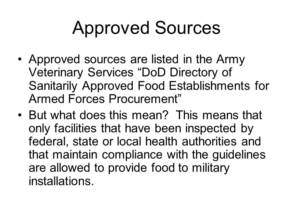 Approved Sources