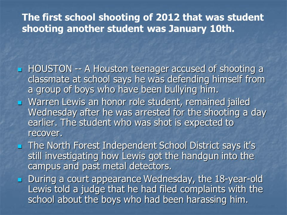 The first school shooting of 2012 that was student shooting another student was January 10th.