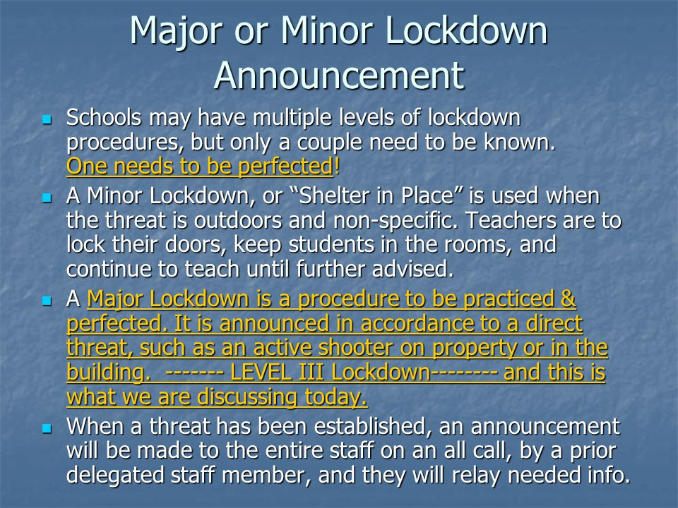 Major or Minor Lockdown Announcement