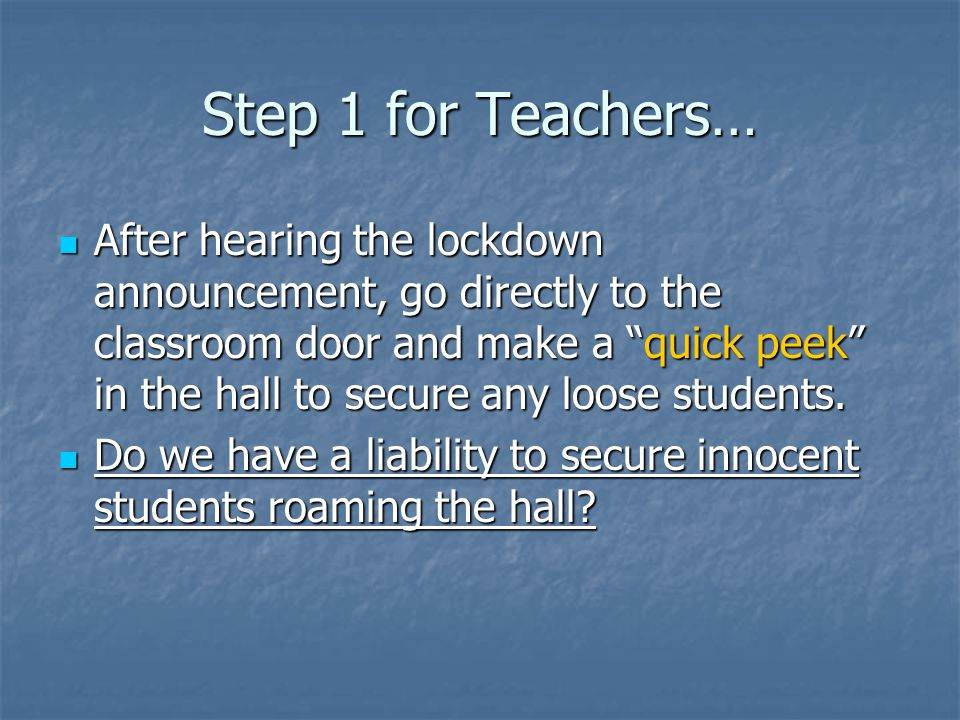Step 1 for Teachers…