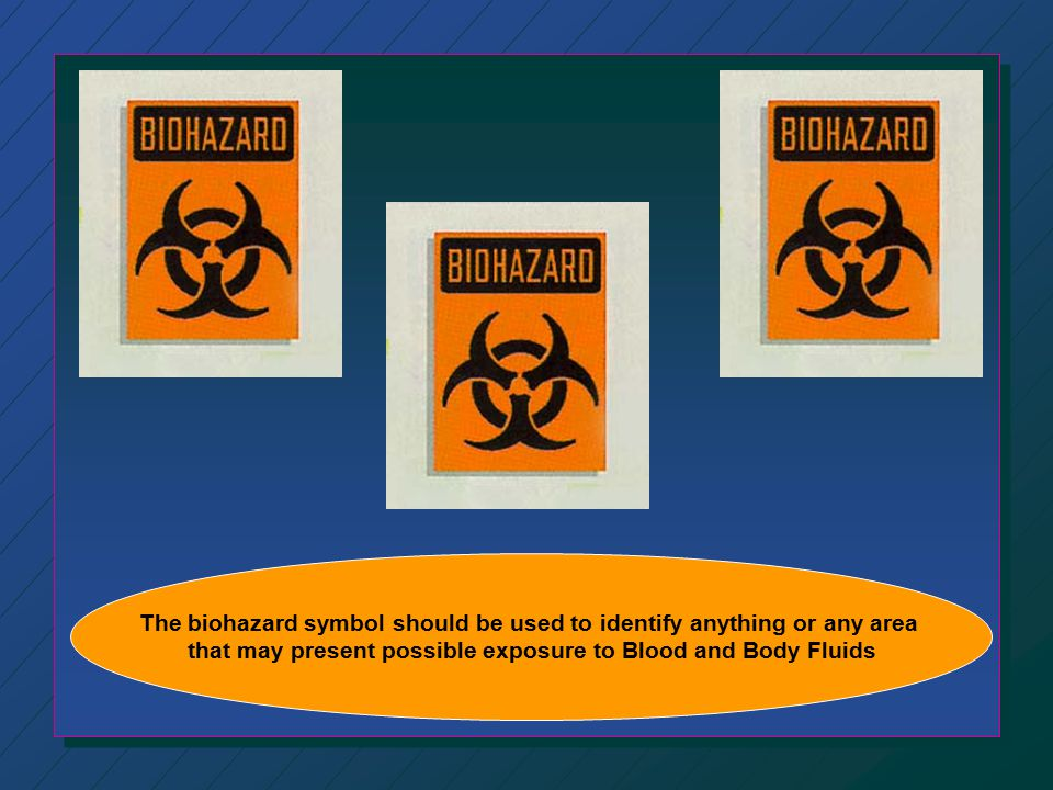 The biohazard symbol should be used to identify anything or any area