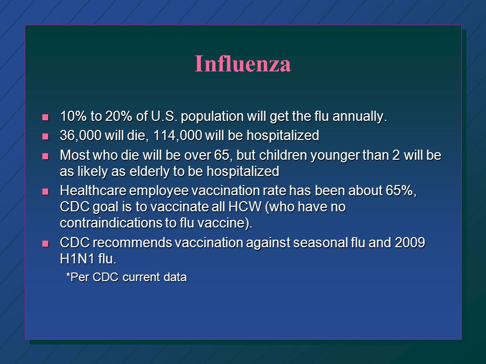 Influenza 10% to 20% of U.S. population will get the flu annually.