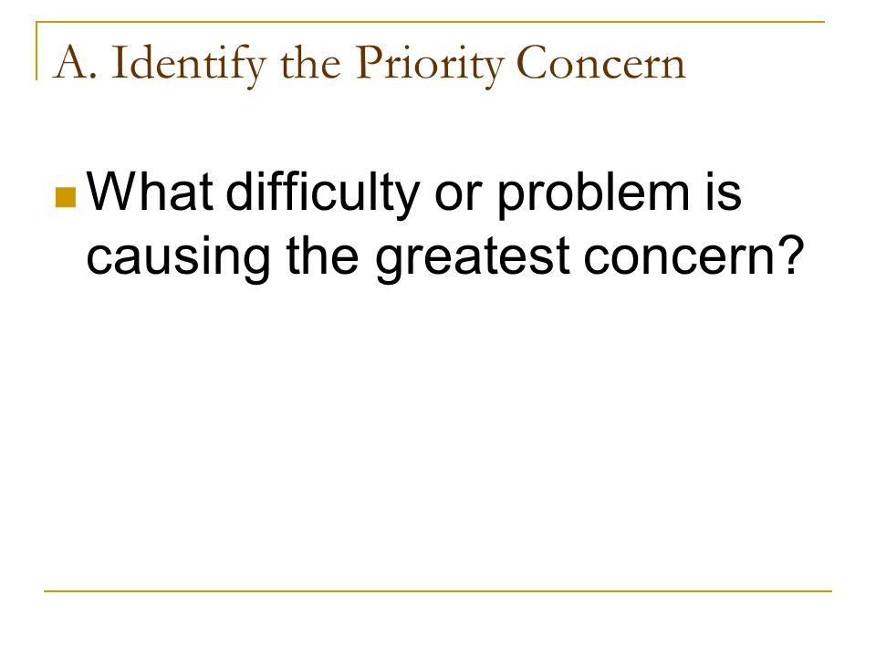 A. Identify the Priority Concern