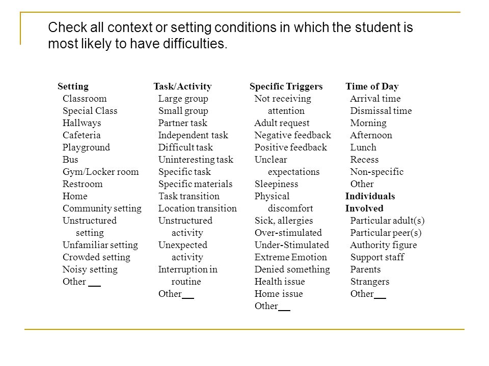 Check all context or setting conditions in which the student is most likely to have difficulties.