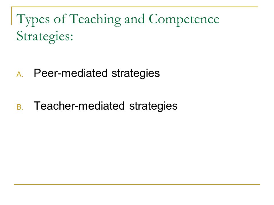 Types of Teaching and Competence Strategies: