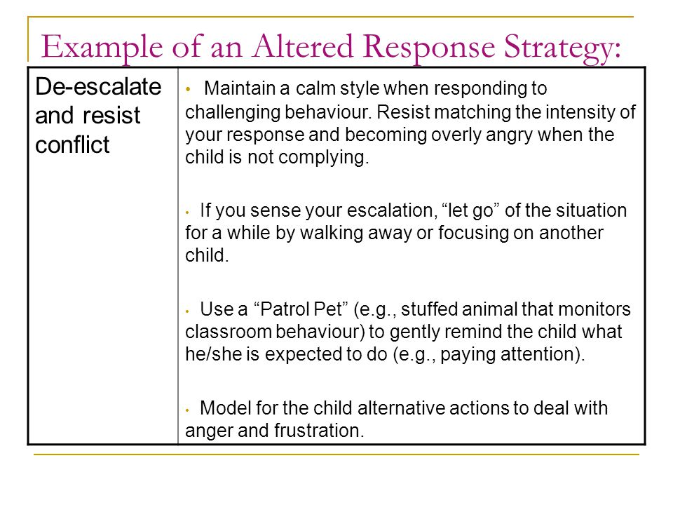 Example of an Altered Response Strategy: