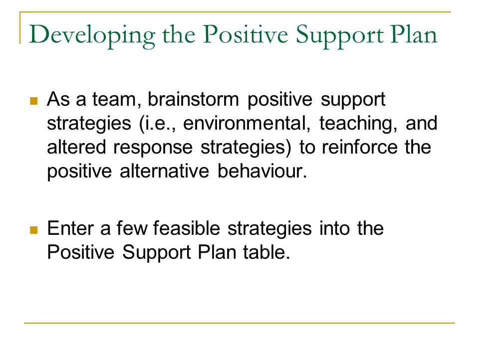 Developing the Positive Support Plan